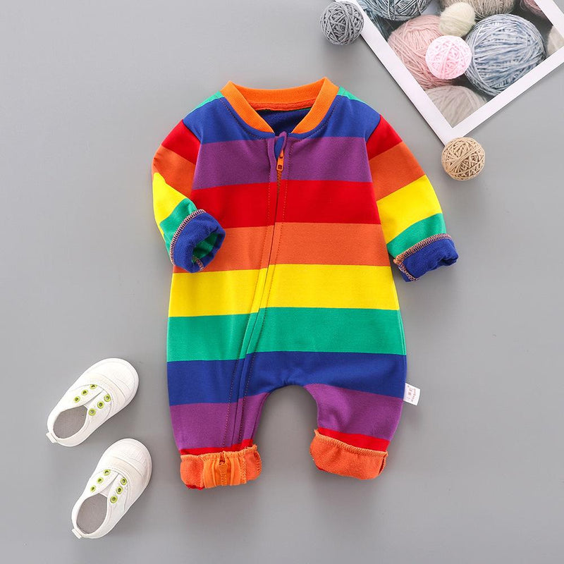 Baby Rainbow Pattern Striped Long Sleeve Romper Wholesale Baby Outfits