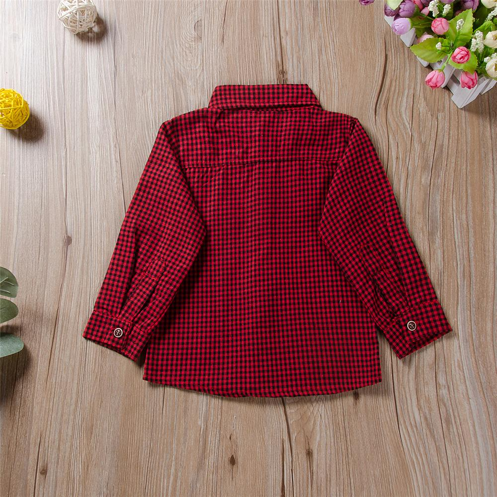 Boys Red Plaid Long Sleeve Button Shirt Wholesale School Uniforms