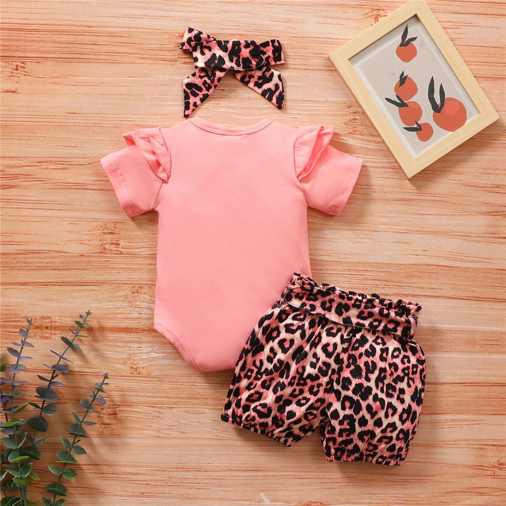 Baby Girls Ruffled Mama's Mini Printed Short Sleeve Romper & Leopard Shorts & Headband Baby Clothes Vendors - PrettyKid