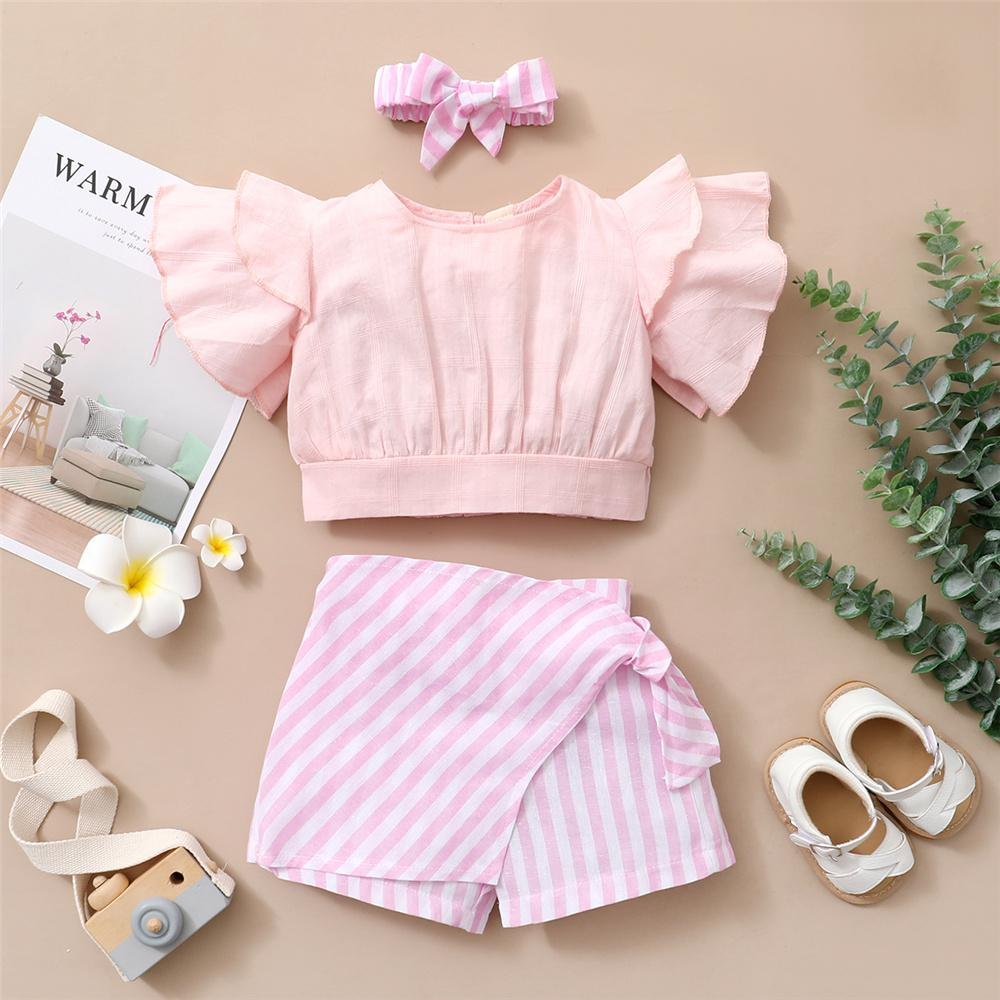 Toddler Girls Ruffled Short Sleeve Top & Striped Plaid Shorts & Headband baby and children's clothes wholesalers