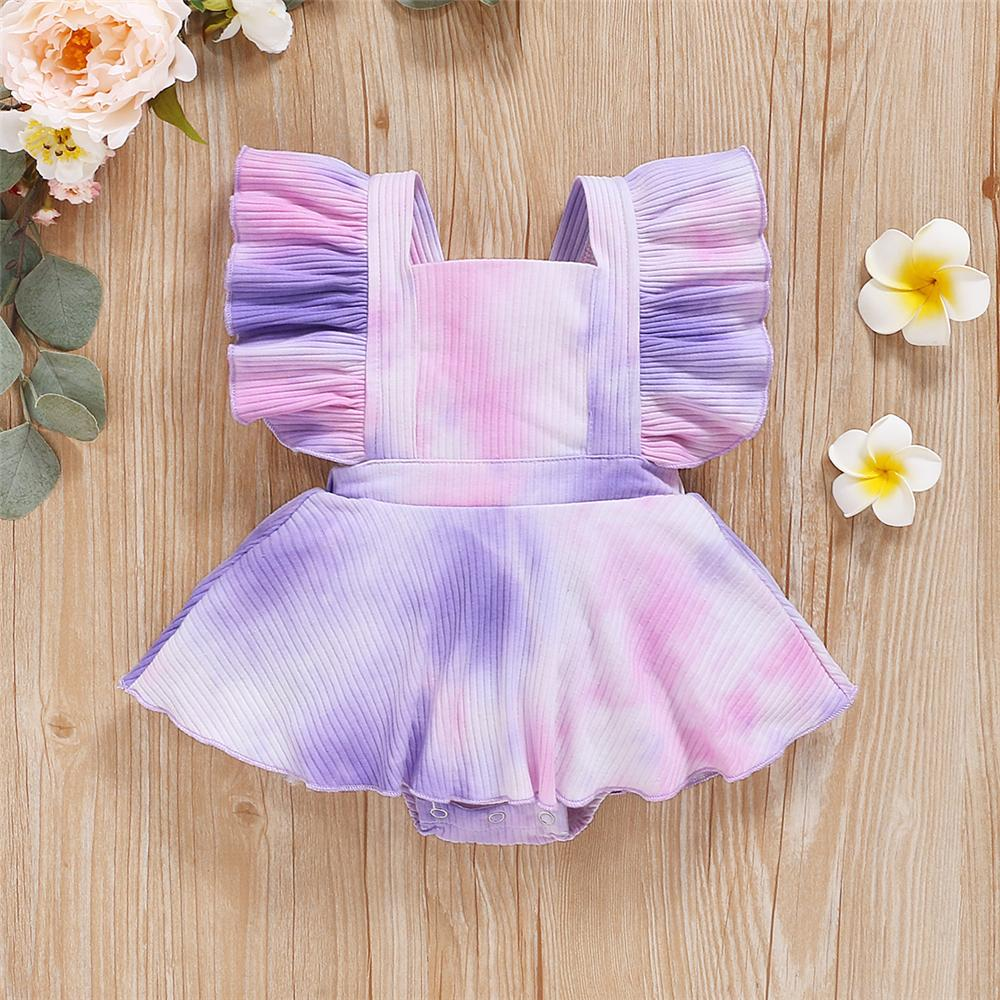 Baby Girls Ruffled Sleeveless Tie Dye Bow Decor Romper Baby Clothes Cheap Wholesale - PrettyKid