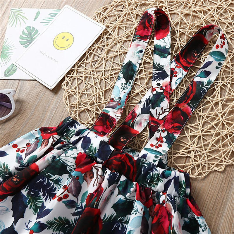 Girls Ruffled Solid Color Short Sleeve Top & Floral Printed Suspender Skirt & Headband Girls clothing Wholesale