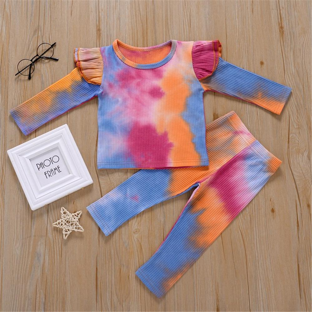 Girls Ruffled Tie Dye Long Sleeve Top & Trousers Baby Outfits Girl