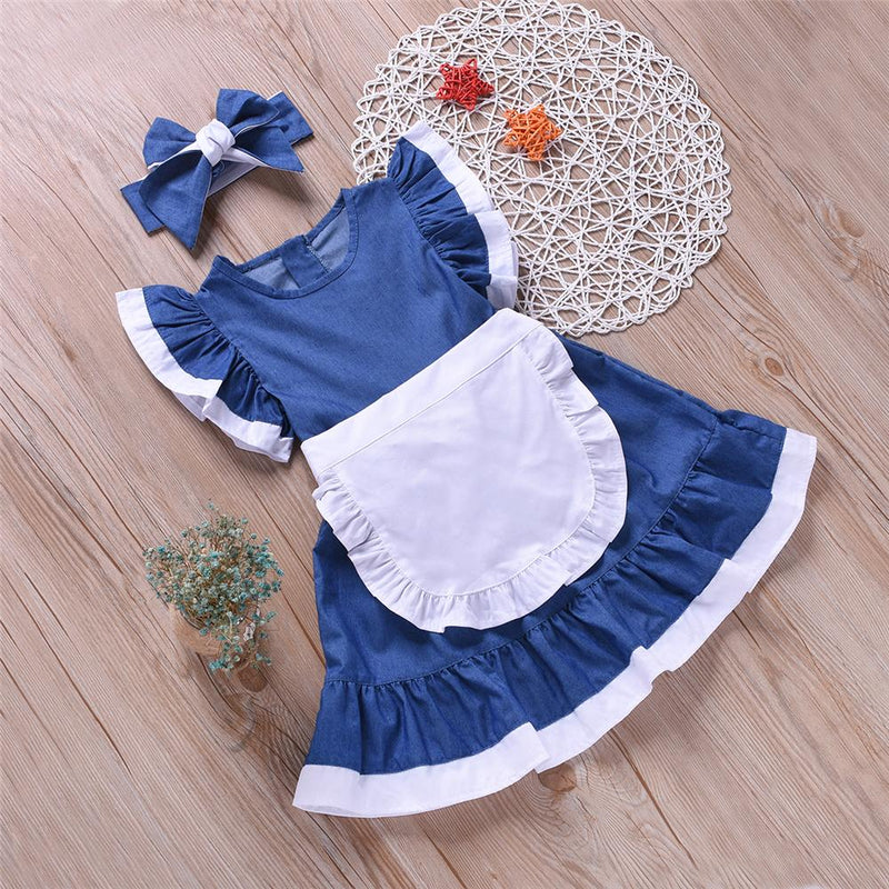 Girls Short-sleeve Casual Dress Wholesale Boutique Girl Clothing