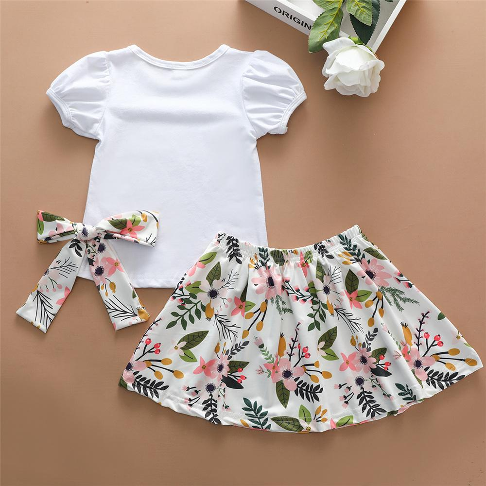 Girls Short Sleeve Big Sister Top & Floral Skirt & Headband Kids Wholesale clothes