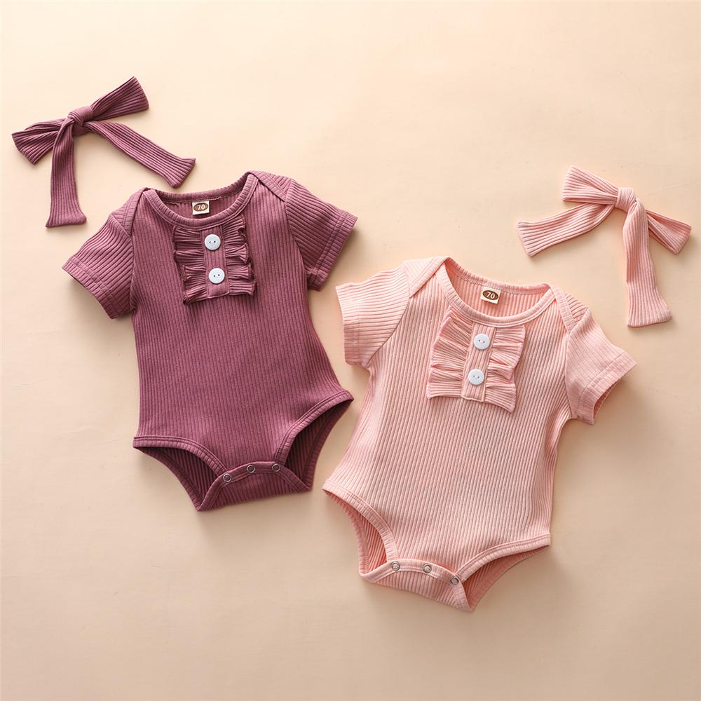 Baby Girls Short Sleeve Button Romper & Headband solid color baby onesies bulk - PrettyKid