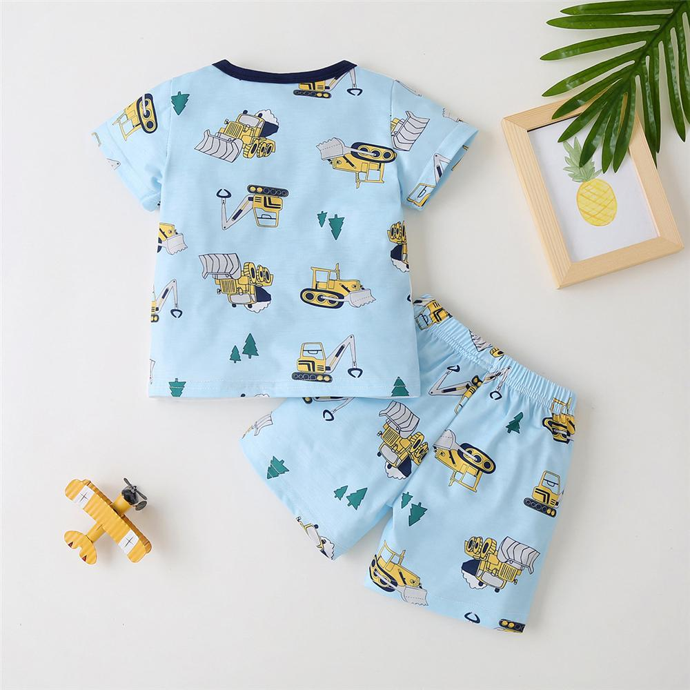 Toddler Boys Short Sleeve Cartoon Printed Top & Shorts buy kids clothes wholesale
