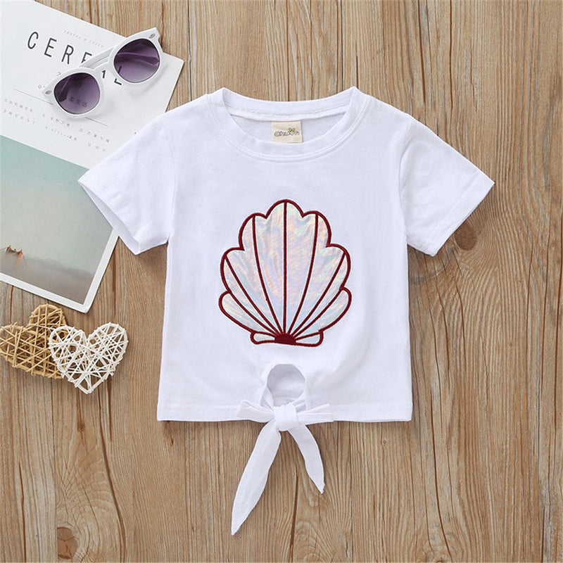 Girls Short Sleeve Cartoon Shell Printed Top & Bell Trousers Wholesale Girl clothes
