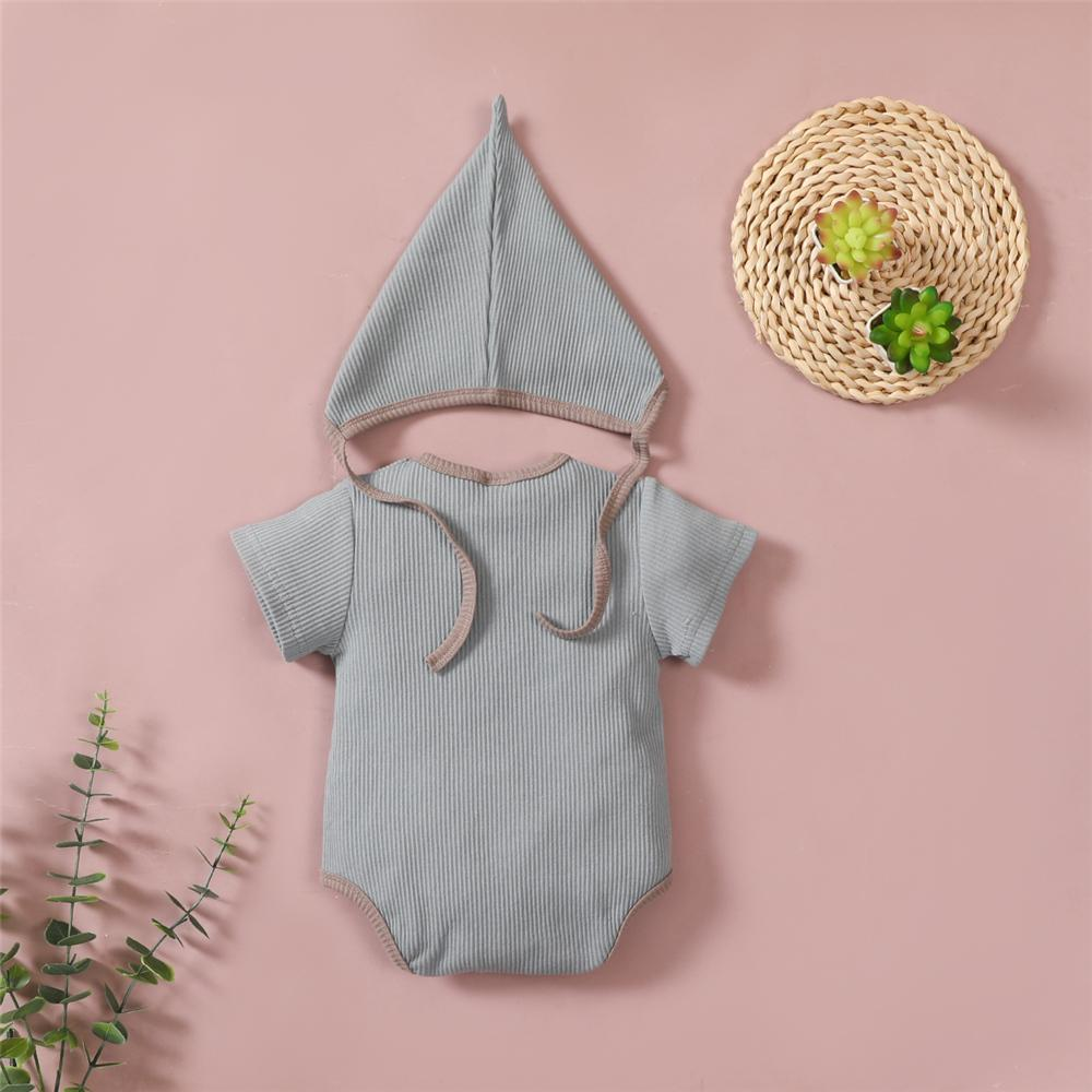 Baby Short Sleeve Casual Romper & Hat little girl boutique clothing wholesale - PrettyKid