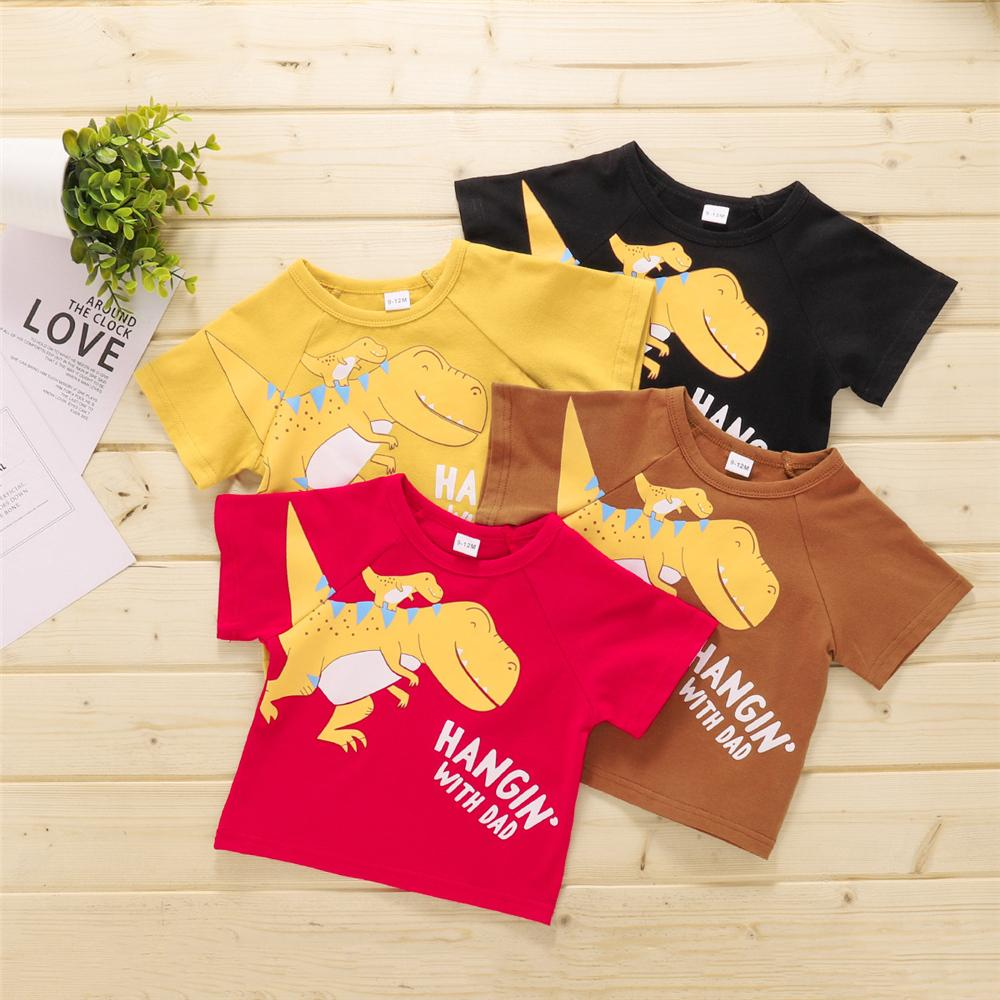 Baby Boys Short Sleeve Dinosaur Letter Printed T-shirts bulk buy kids clothes - PrettyKid