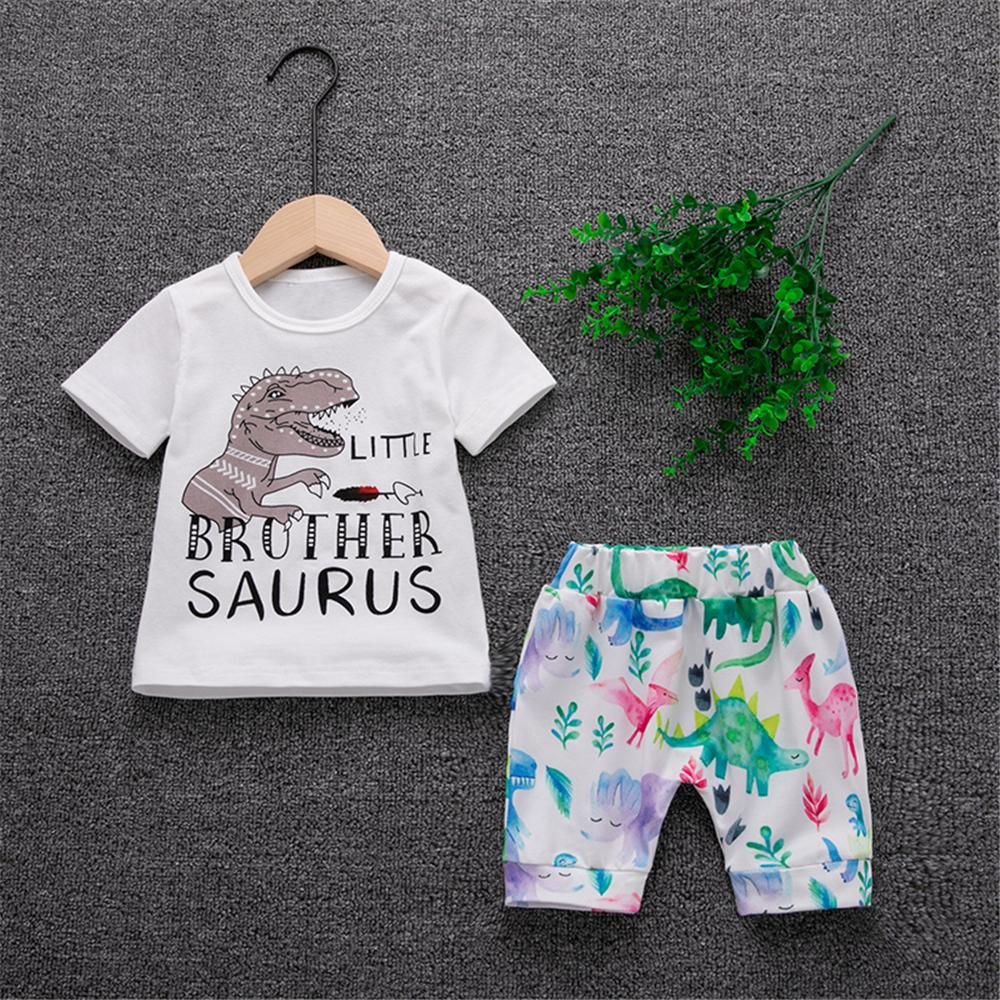 Baby Boys Short Sleeve Dinosaur Letter Printed Top & Shorts baby boy clothes wholesale kids clothing online - PrettyKid