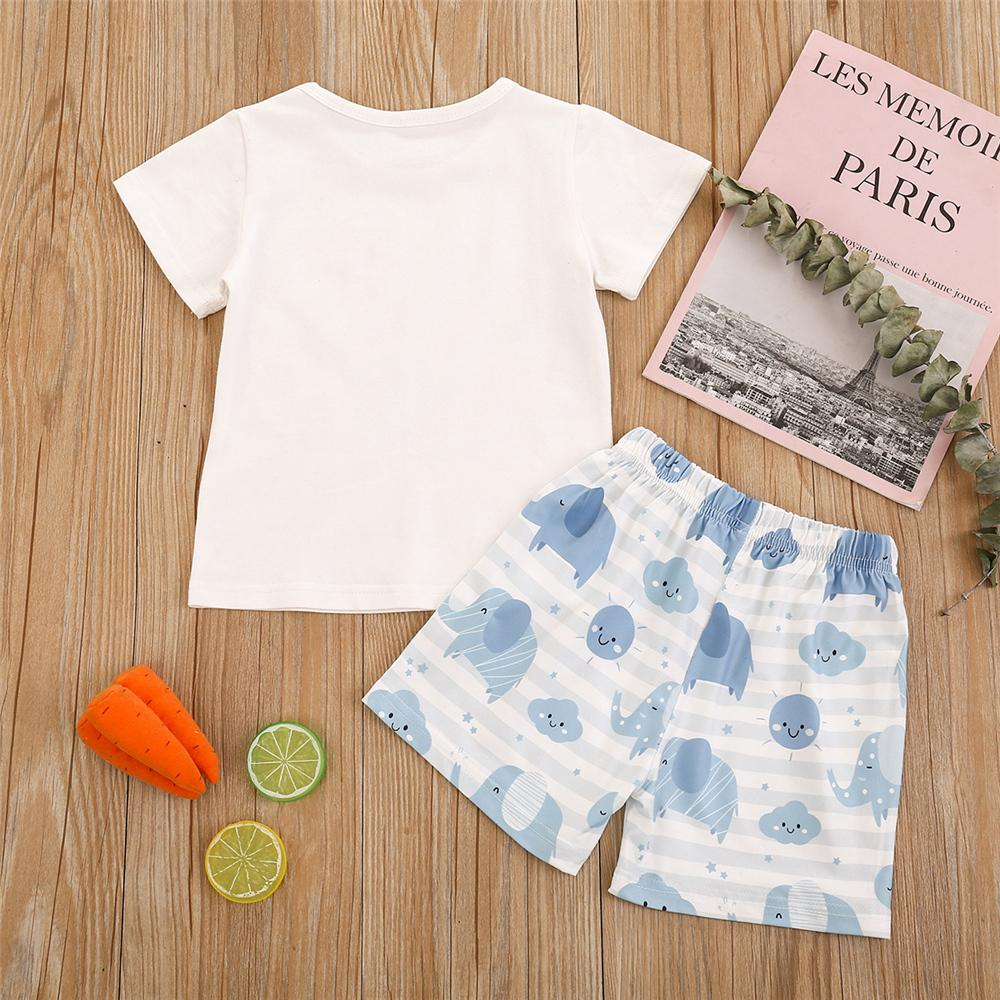Toddler Boys Short Sleeve Elephant Printed Top & Shorts clothes kids wear supplier