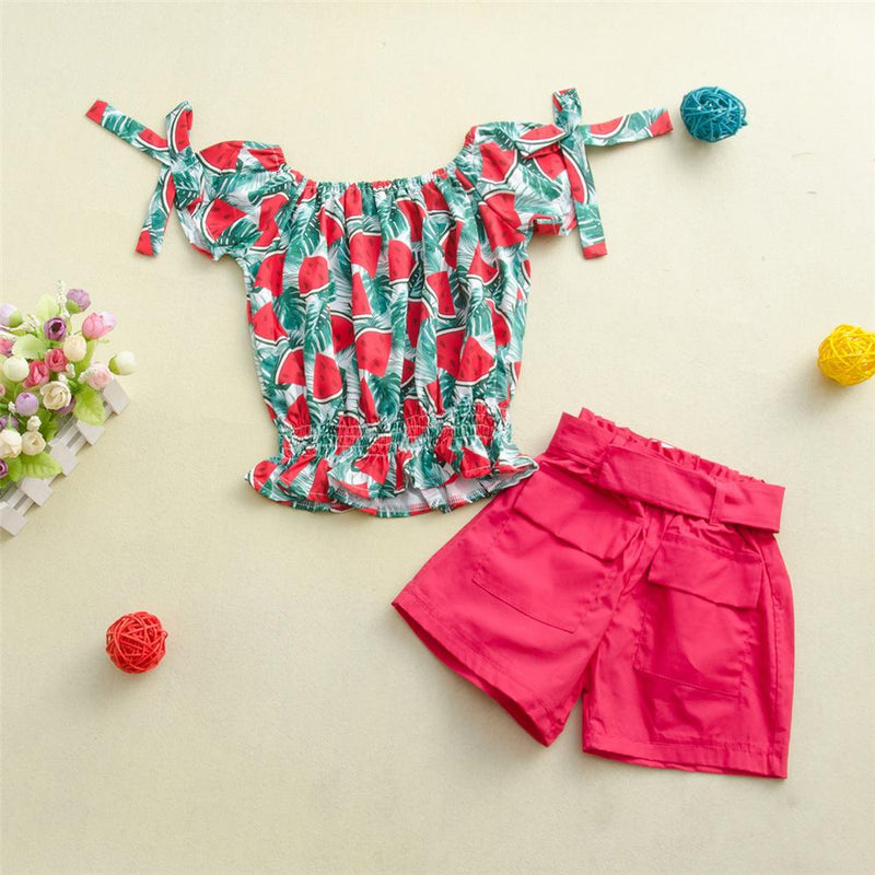 Girls Short Sleeve Fruit Printed Top & Solid Shorts Wholesale Girl clothes
