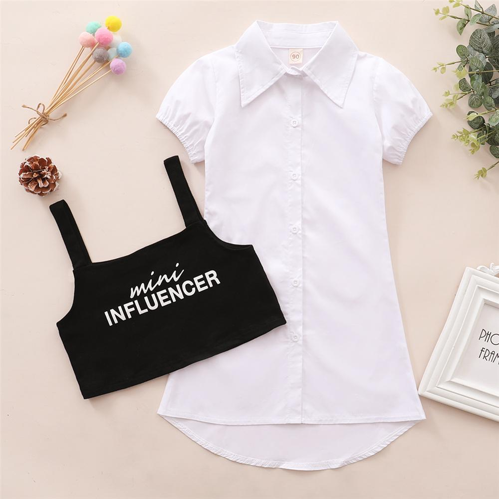 Toddler Girls Short Sleeve Lapel Button Dress & Letter Printed Sling Top wholesale baby girl boutique clothing