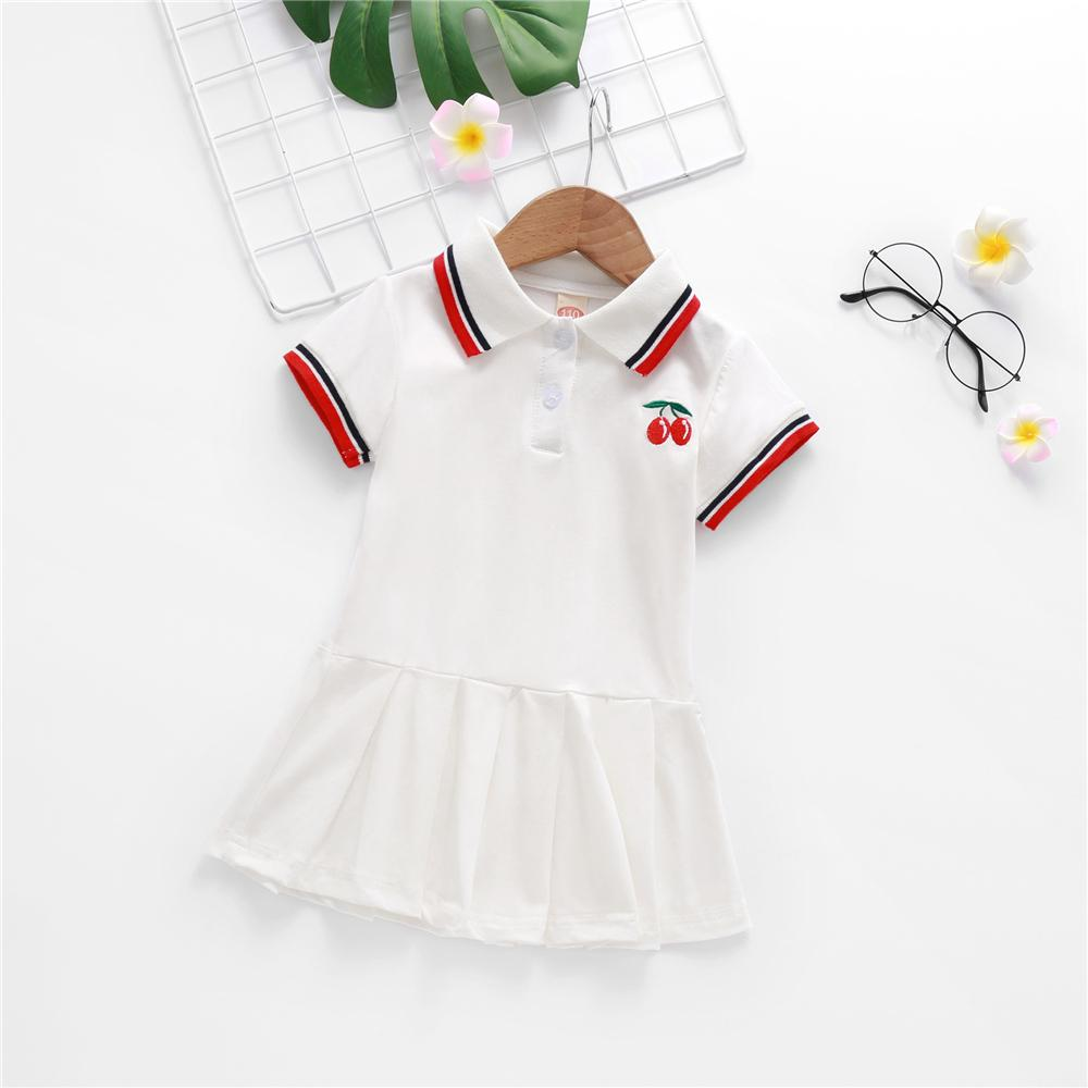 Toddler Girls Short Sleeve Lapel Fruit Dress stylish children's clothing wholesale