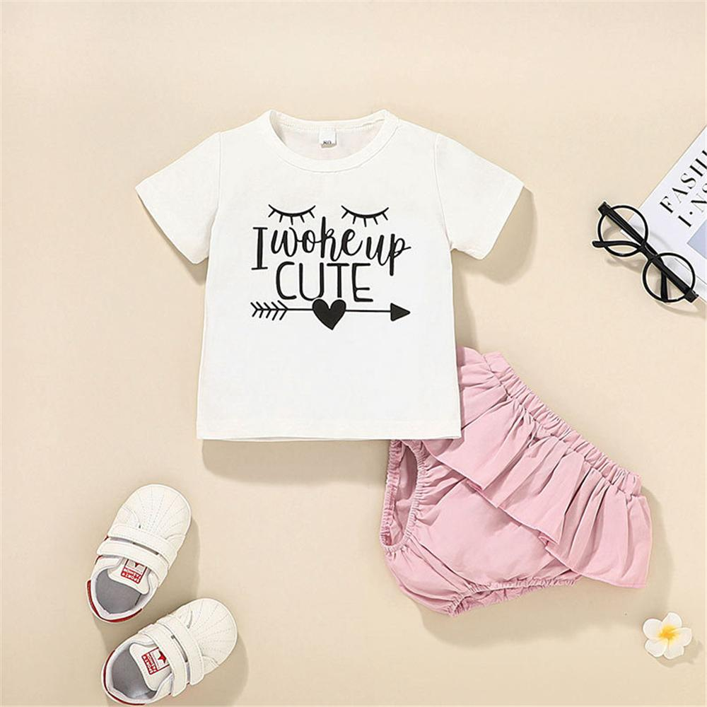 Baby Girls Short Sleeve Letter Printed Cute Top & Pink Shorts wholesale children's boutique clothing suppliers - PrettyKid