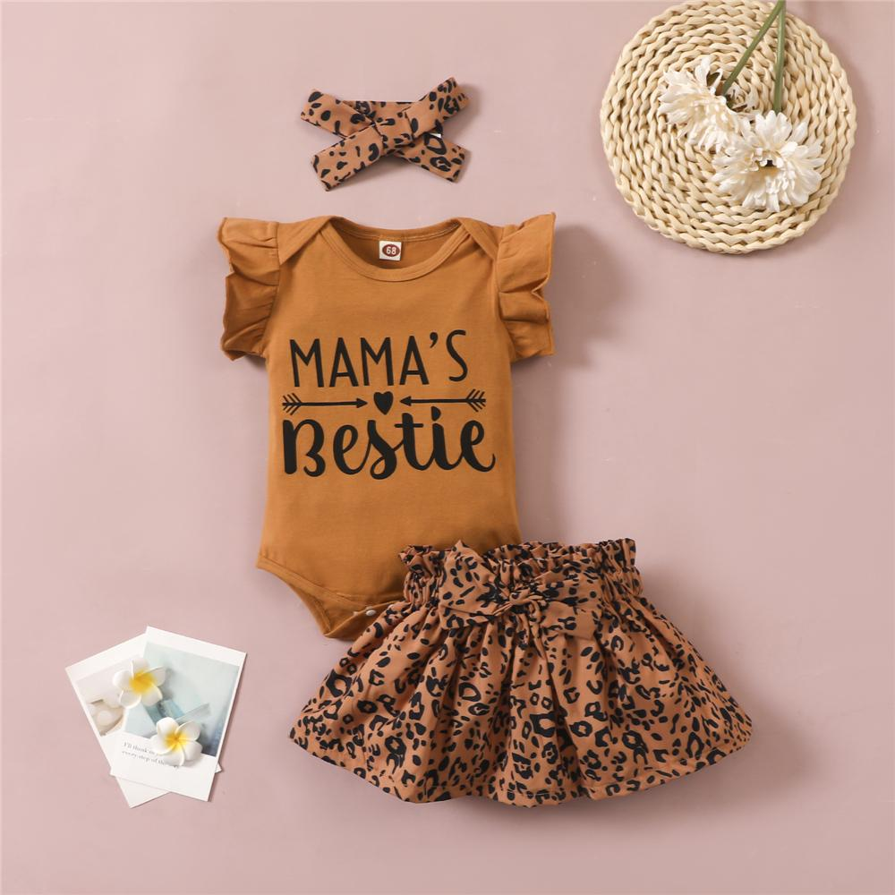 Baby Girls Short Sleeve Letter Printed Romper & Leopard Skirt & Headband plain baby grows wholesale - PrettyKid