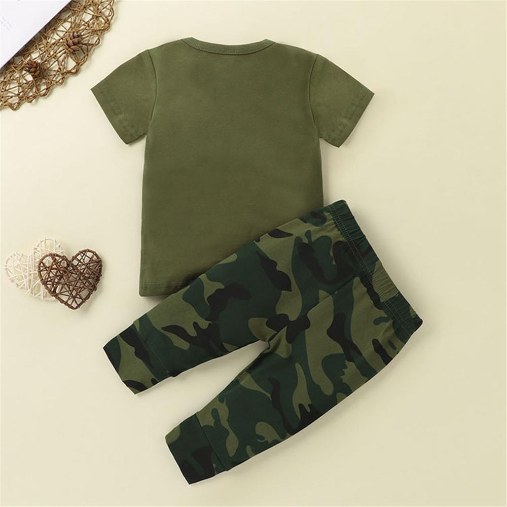 Baby Boys Short Sleeve Letter Printed Top & Camo Pants Baby clothing vendors - PrettyKid