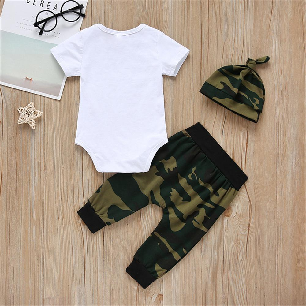 Baby Boy Short Sleeve Mini Boss Romper & Camo Pants & Hat Baby clothing vendors - PrettyKid