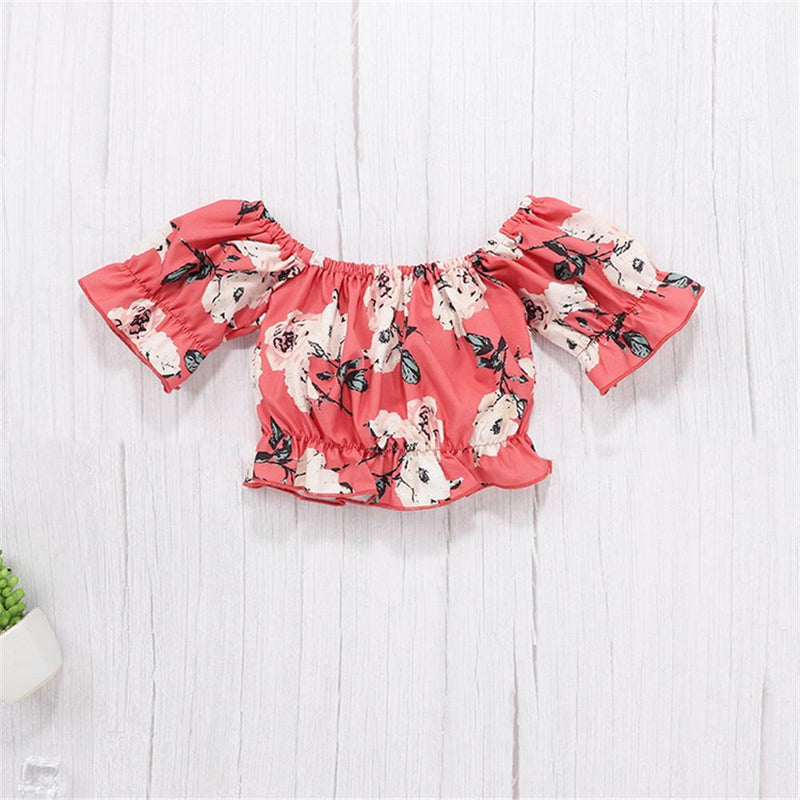 Baby Girls Short Sleeve Off Shoulder Floral Printed Top & Shorts Kids Wholesale clothes in bulk