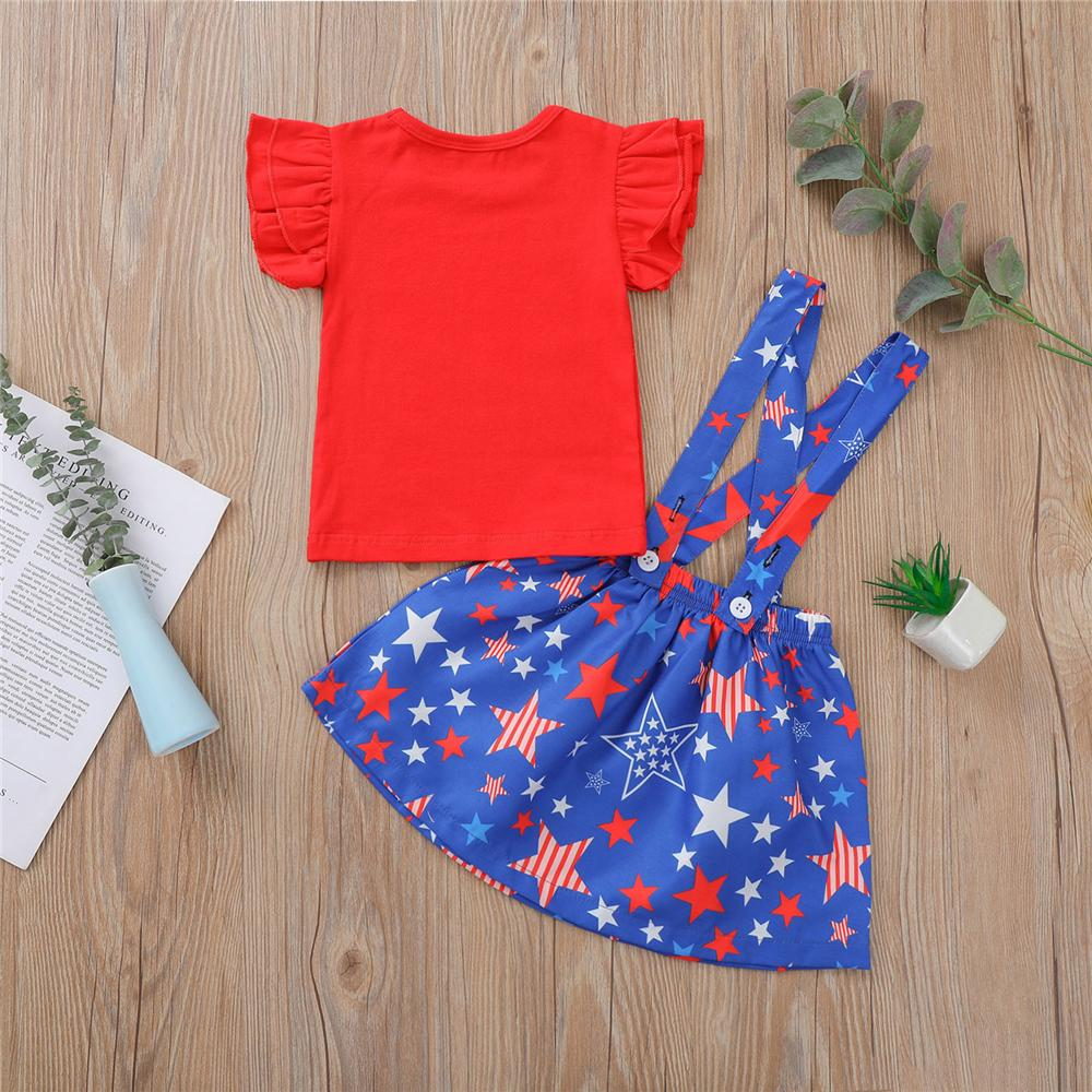 Toddler Girls Short Sleeve Red Top & Star Printed Suspender Skirt children's boutique wholesale suppliers
