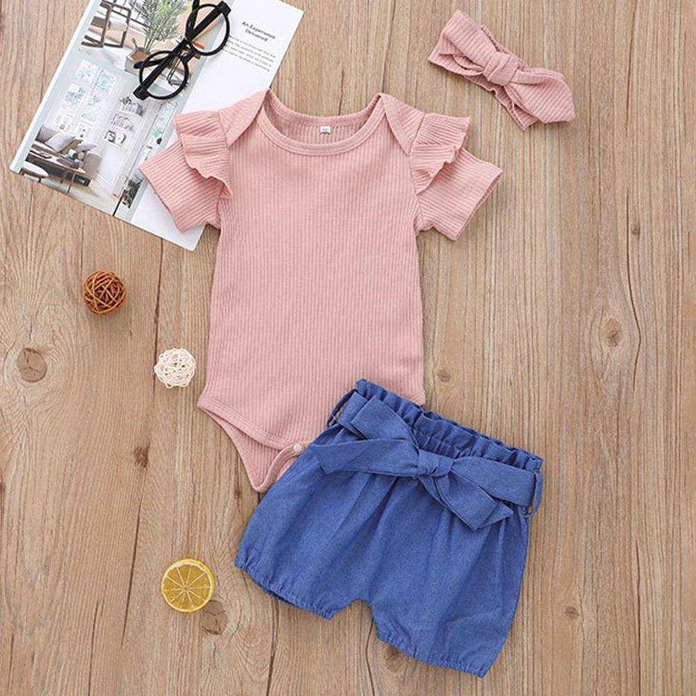 Baby Girls Short Sleeve Romper Solid Shorts & Headband wholesale baby outfits - PrettyKid