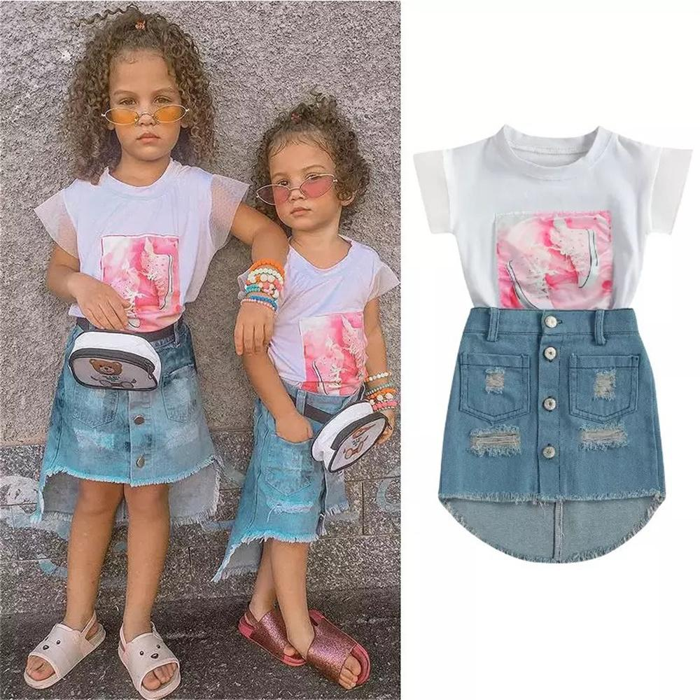 Children'S Clothing Bulk Wholesale Toddler Girls Short Sleeve Shoes Printed T-shirt & Ripped Denim Skirt Cheap Childrens Clothes Wholesale