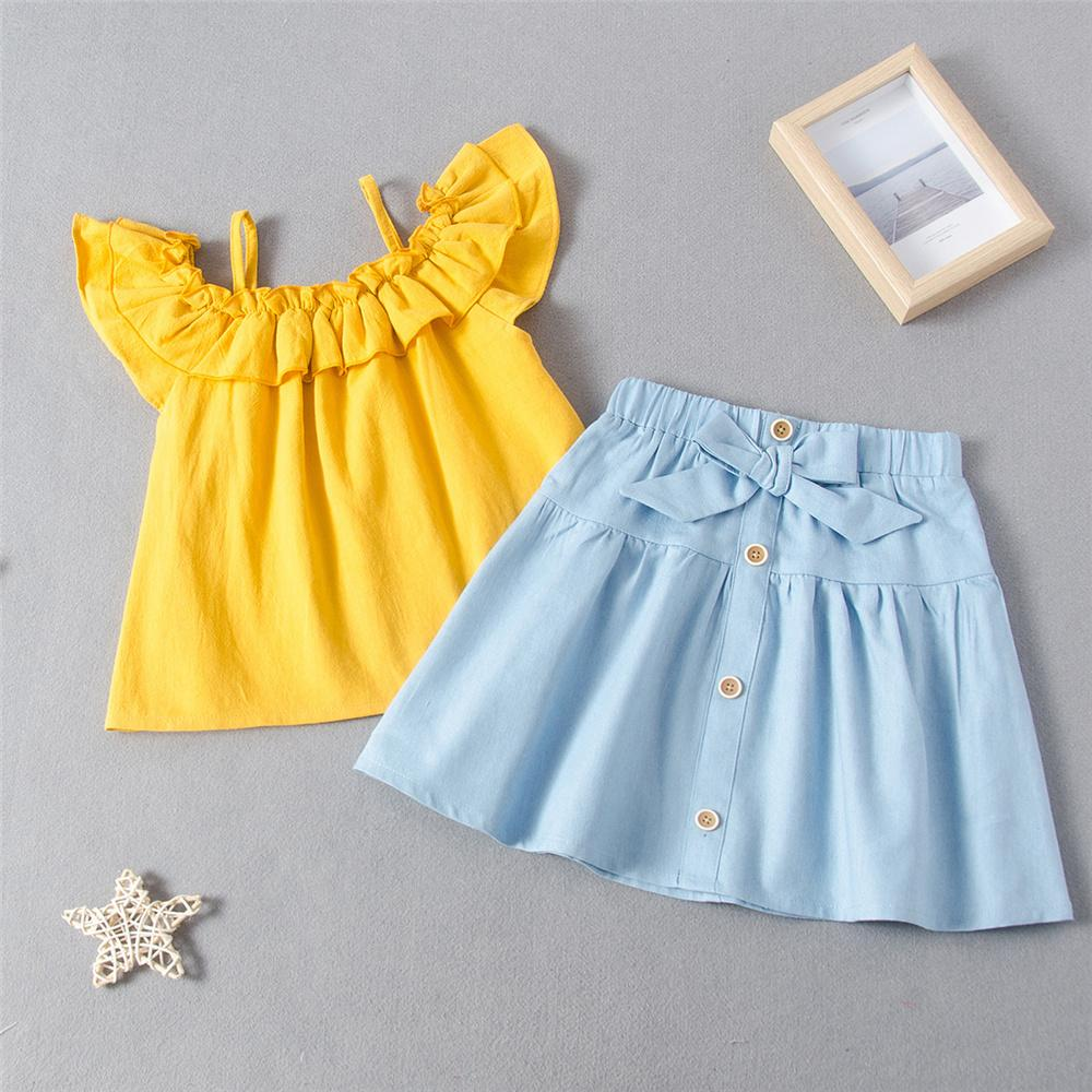 Girls Short Sleeve Sling Solid Top & Skirts Children's Wholesale Boutique Clothing - PrettyKid