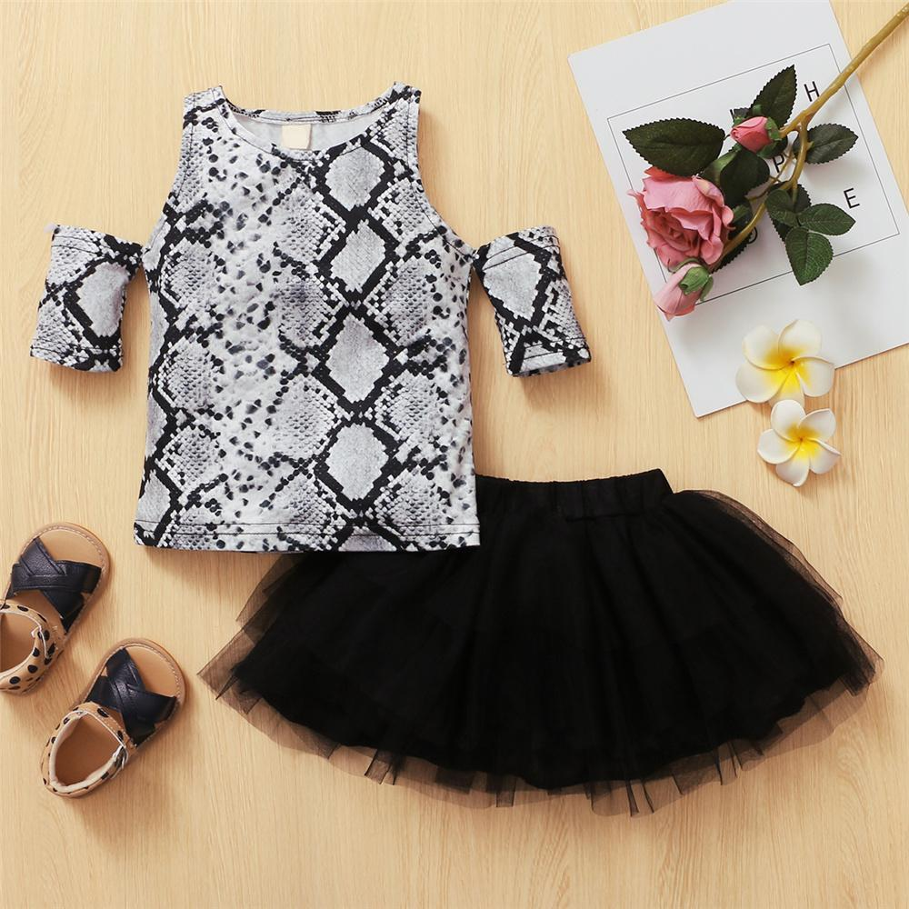 Toddler Girls Short Sleeve Snake Skin Printed Off Should Top & Tutu Toddler children's clothing bulk wholesale