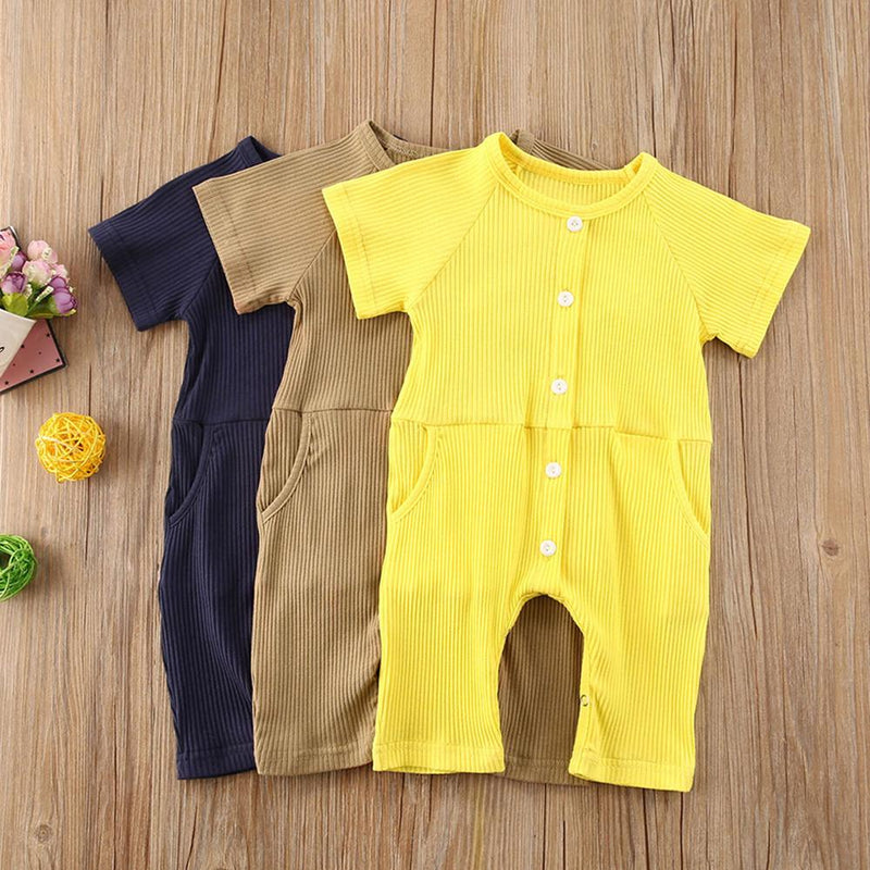 Baby Short Sleeve Solid Button Romper baby ex chainstore children's clothing - PrettyKid