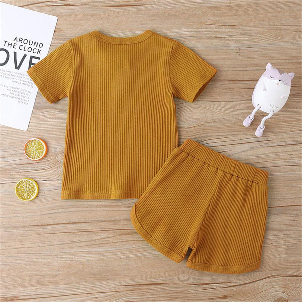 Unisex Short Sleeve Solid Color Top & Shorts Children'S Boutique clothes Wholesale vendors