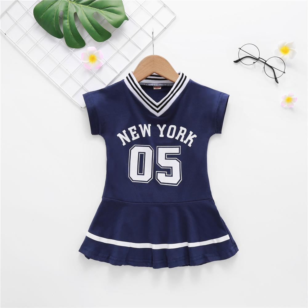 Toddler Girls Short Sleeve Sport Letter Printed Dress spanish wholesale childrens clothing