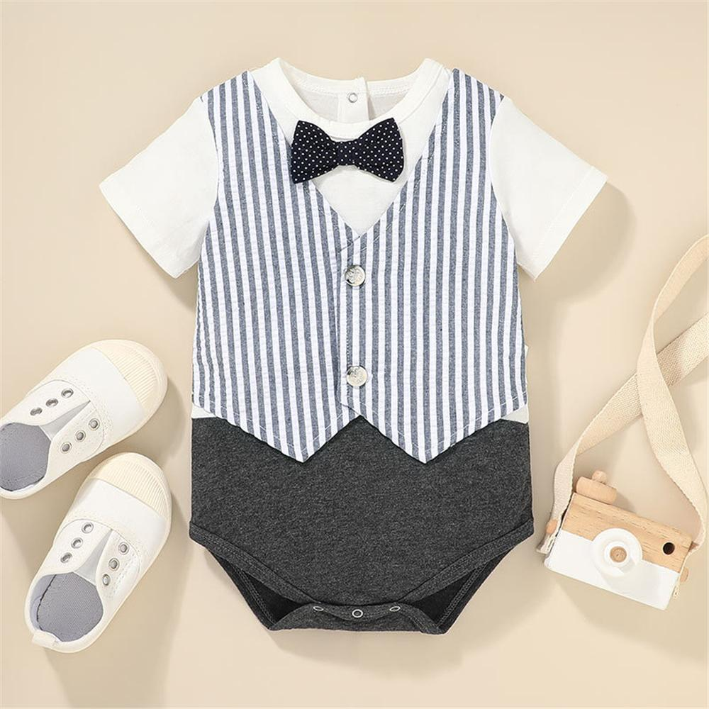 Baby Boys Short Sleeve Striped Romper kid clothing wholesale distributors - PrettyKid