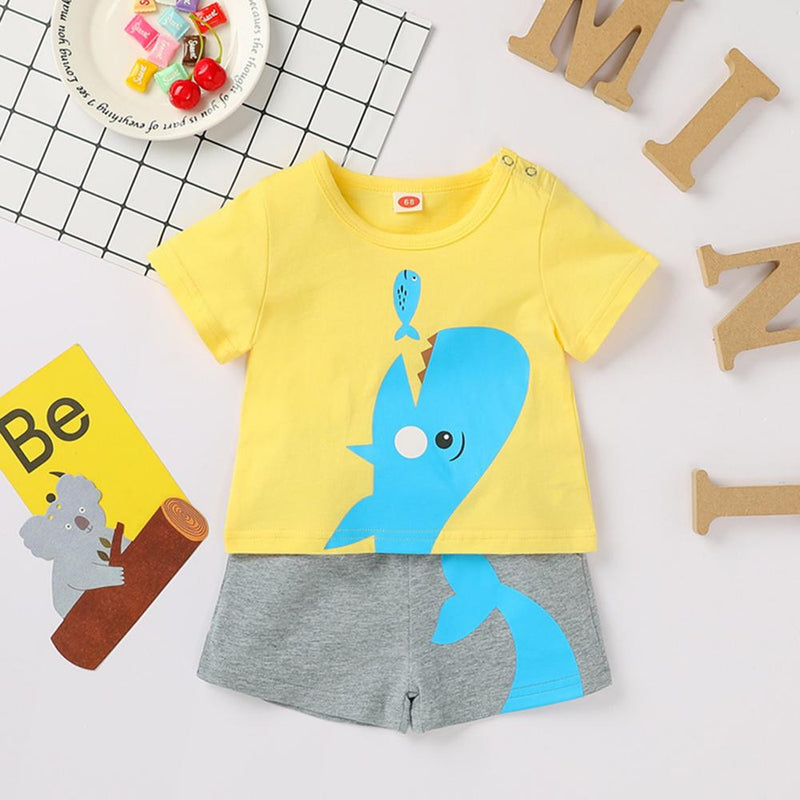 Baby Boys Short Sleeve Whale Animal Printed Top & Shorts Wholesale clothes Baby - PrettyKid
