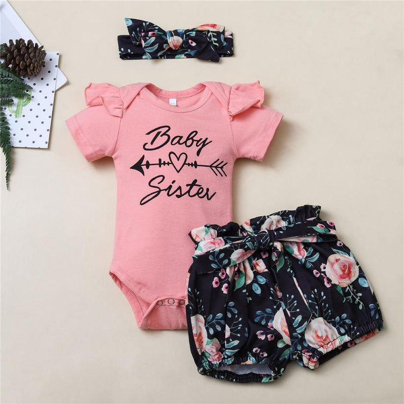 Baby Sister Printed Short Sleeve Top & Short & Headband Baby Wholesale vendors