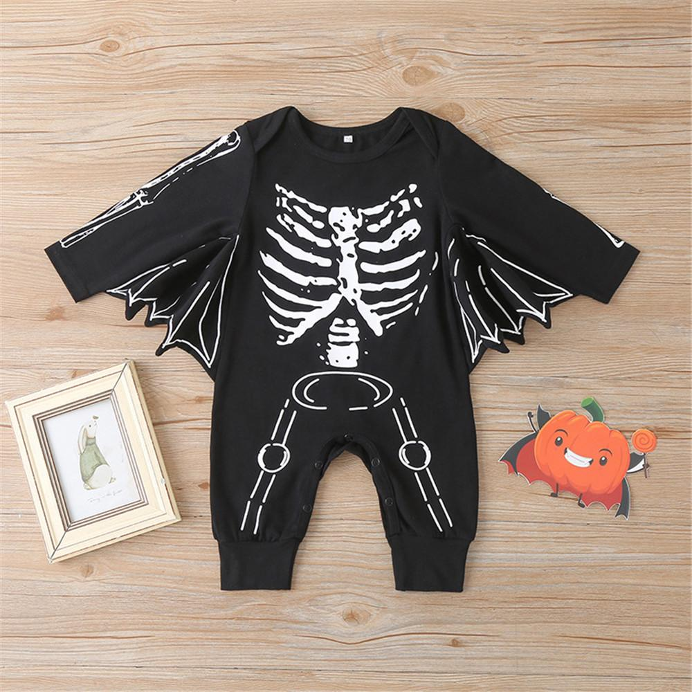 Baby Boys Skeleton Long Sleeve Bat Romper Wholesale Baby Rompers - PrettyKid