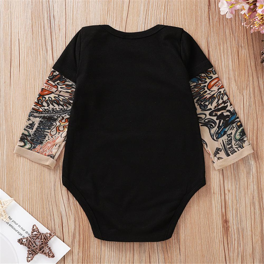 Baby Boys Skeleton Pattern Tattoo Printed Romper Wholesale Baby Outfits - PrettyKid