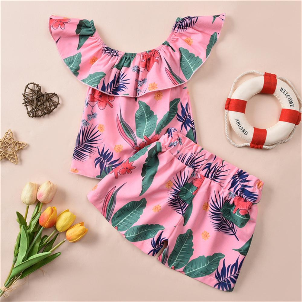 Toddler Girls Sleeveless Leaf Printed Top & Shorts Toddler children's party dress wholesale