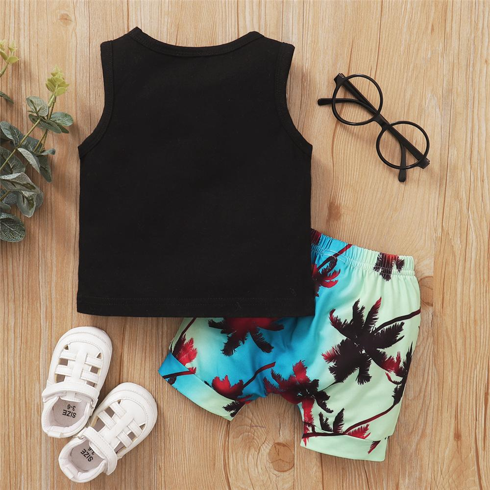 Baby Boys Sleeveless Letter Printed Top & Shorts wholesale girl clothing and accessories