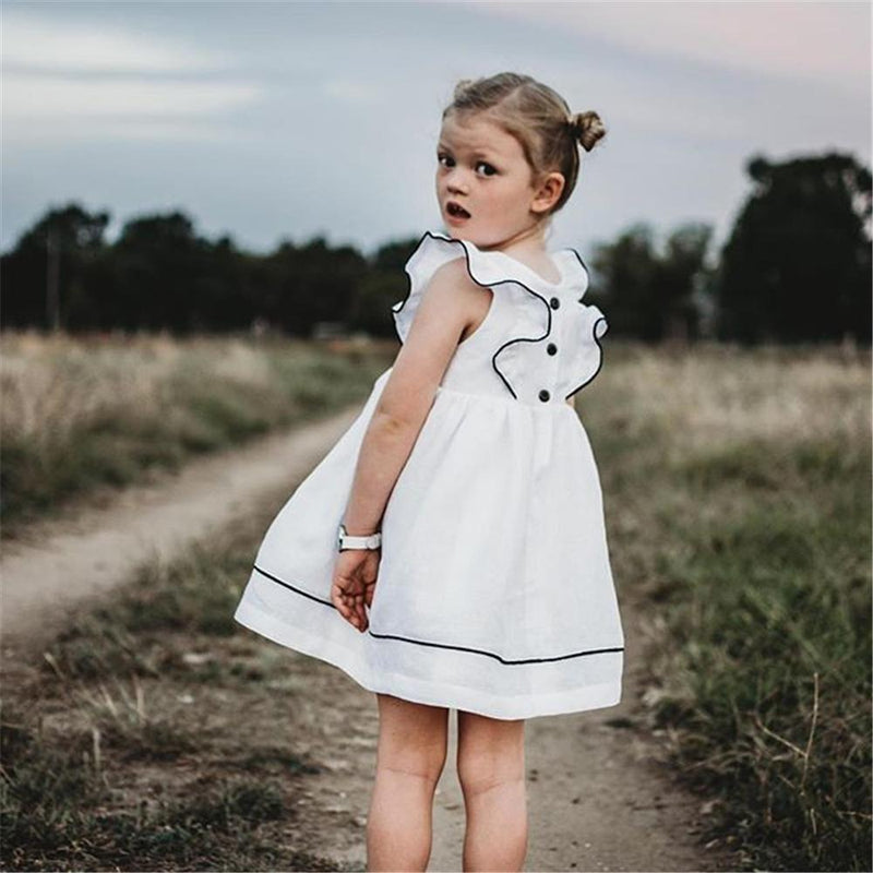 Girls Sleeveless Ruffled Casual Dress Wholesale Little Girl Clothing