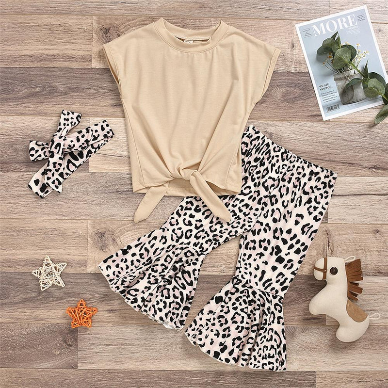 Girls Sleeveless Solid Color Tie Up Top & Leopard Flared Pants Wholesale Little Girls clothing