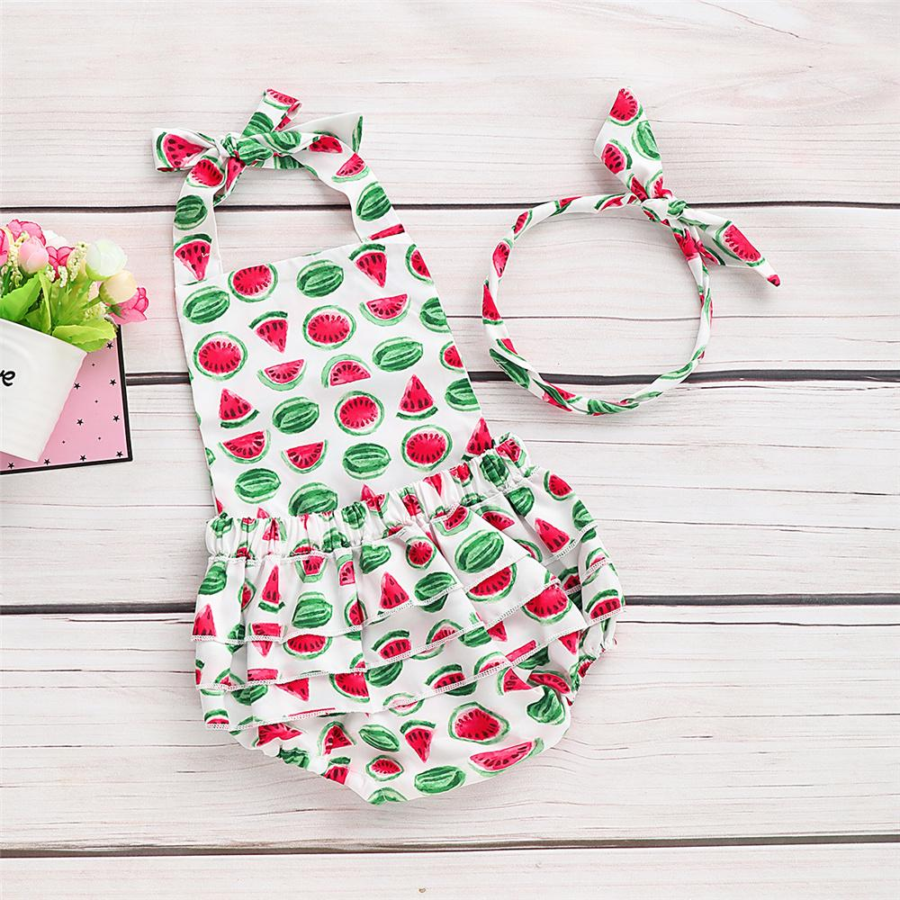 Baby Girls Sleeveless Watermelon Printed Romper & Headband Bulk Baby Clothes Online