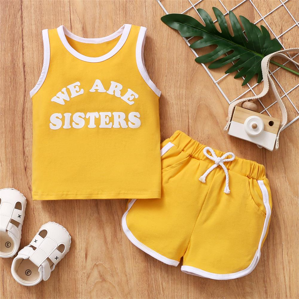Toddler Girls Sleeveless We Are Sisters Printed Top & Shorts boy designer clothes wholesale