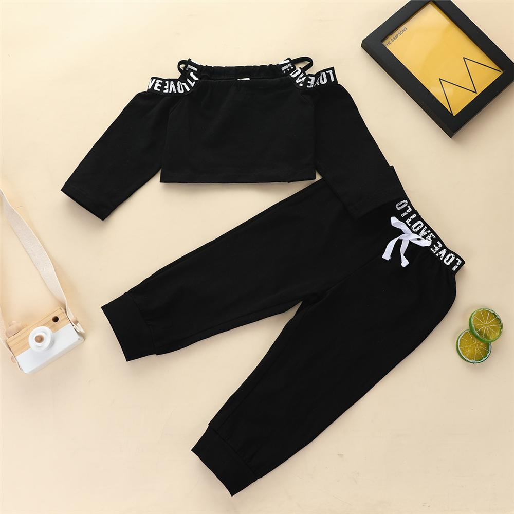 Girls Sling Off Shoulder Letter Printed Long Sleeve Tracksuit Baby Girl Tracksuits - PrettyKid