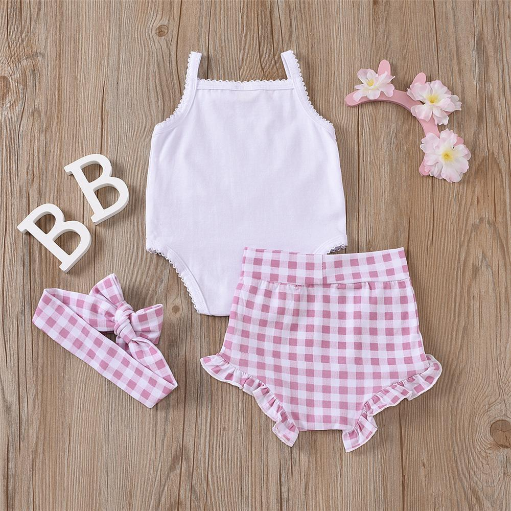 Baby Girls Sling Romper & Plaid Shorts & Headband spanish childrenswear wholesalers - PrettyKid