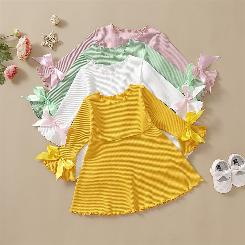 Girls Solid Bow Decor Long Sleeve Dresses