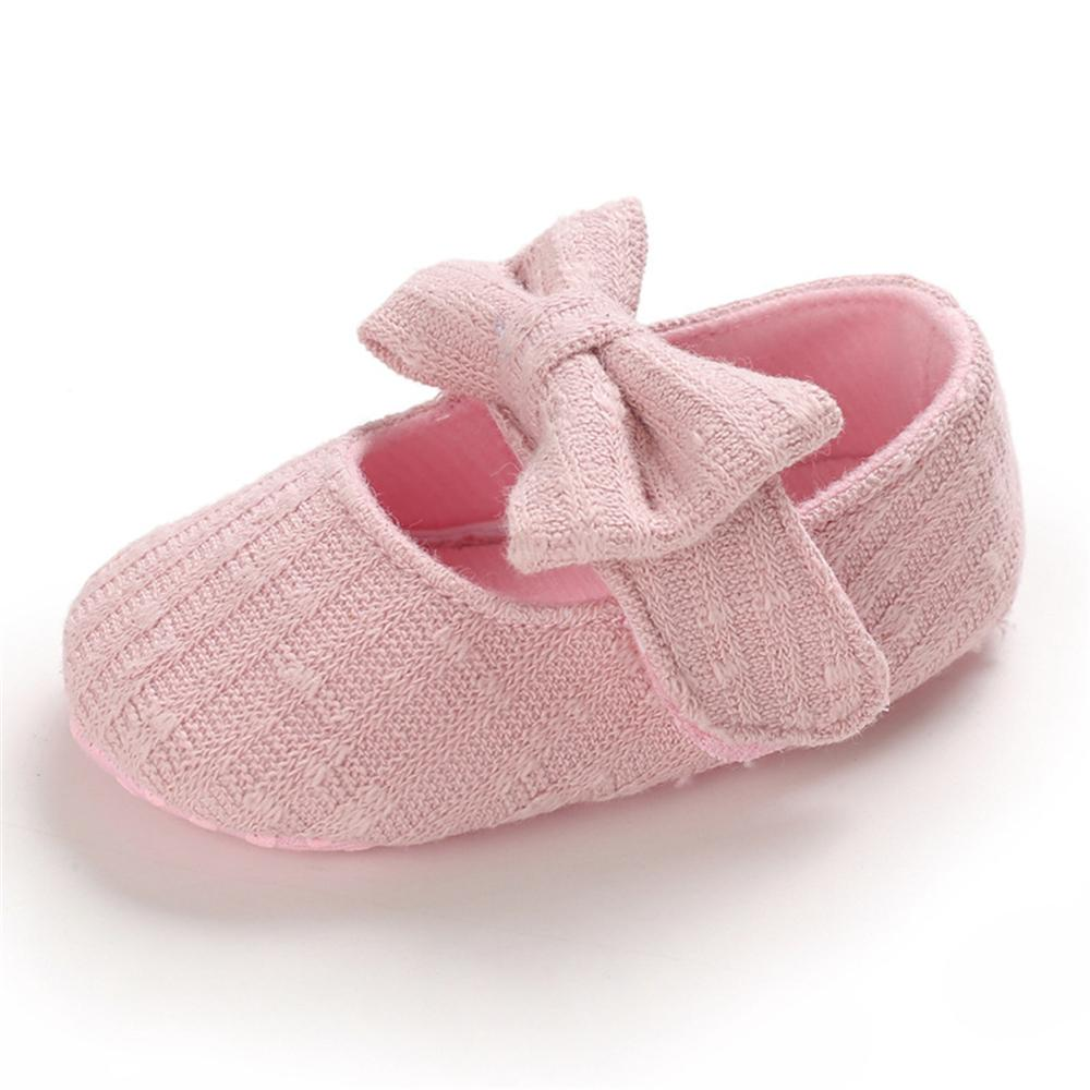 Baby Girls Solid Bow Magic Tape Wholesale Kids Shoes
