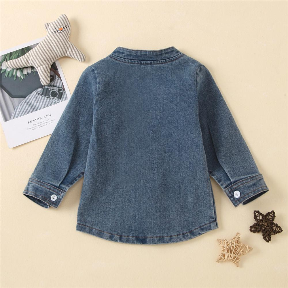 Unisex Solid Button Pocket Long Sleeve Denim Shirt Wholesale Boutique Kid Clothing