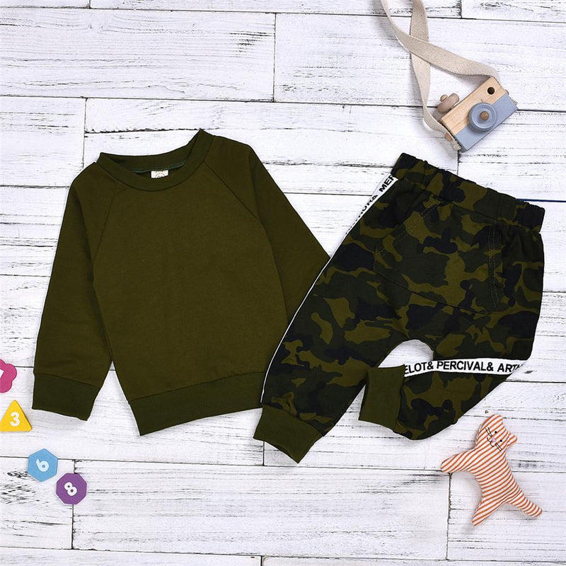 Boys Solid Camouflage Printed Tops & Pants Wholesale Boy Clothing