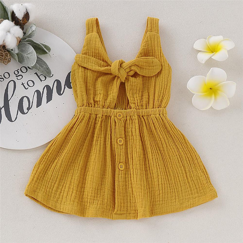 Girls Solid Color Bow Decor Sleeveless Dress Wholesale Baby Girl Clothes